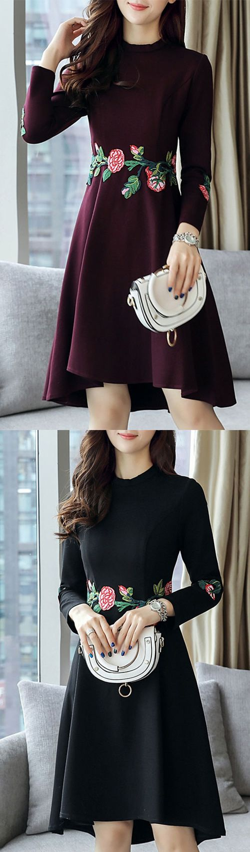 Women's Going out Plus Size Street chic Embroidered Round Neck Knee-length Asymmetrical Long Sleeves Sheath Dress