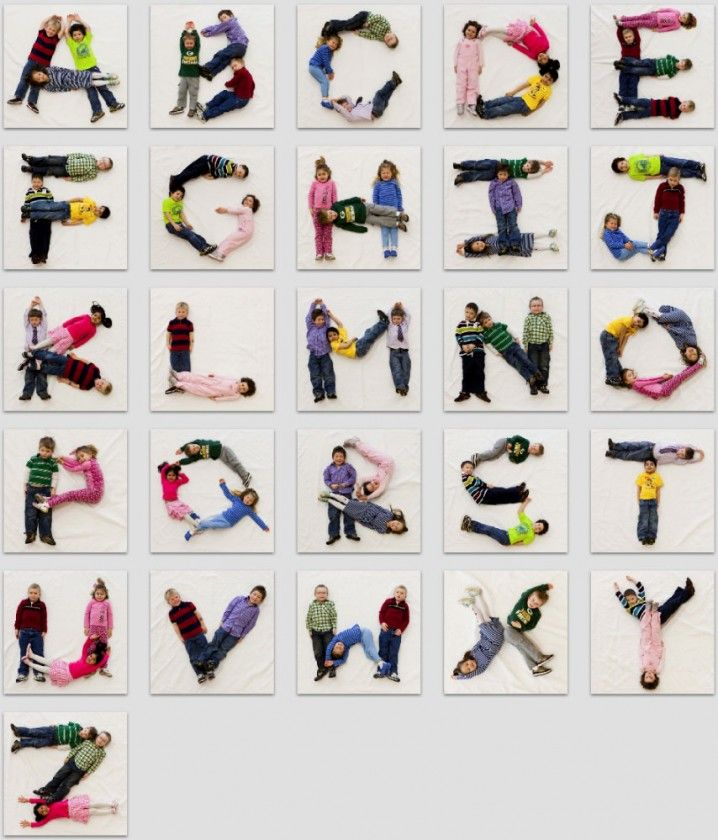 Alphabet made out of kiddos! Do this with my class, post up on wall. Could do all kinds of activities with it!