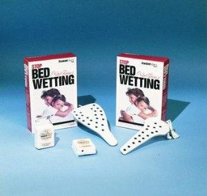NITE TRAIN'R D.V.C. Bedwetting Alarm - MALE by NITE TRAIN'R. $63.67. Consists of a small plastic alarm box that attaches to the shoulder area of the child's pajama or tee shirt close to the ear and a nonabsorbent sensor pad worn over the genitals and held in place inside underwear with a pair of snug-fitting shorts or panties.. Quantity: 1. Male. Moisture-sensing device for children who wet that is worn on the body.. NITE TRAIN'R. Moisture-sensing device for c...