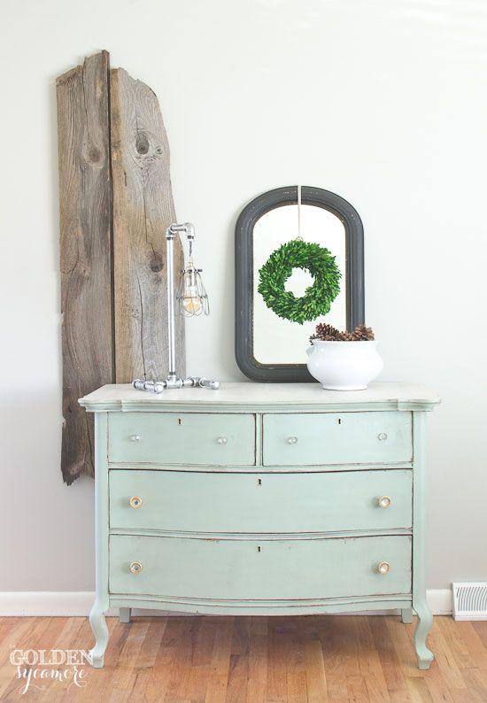 Layla's Mint milk painted dresser. DIY dresser makeover | The Golden Sycamore