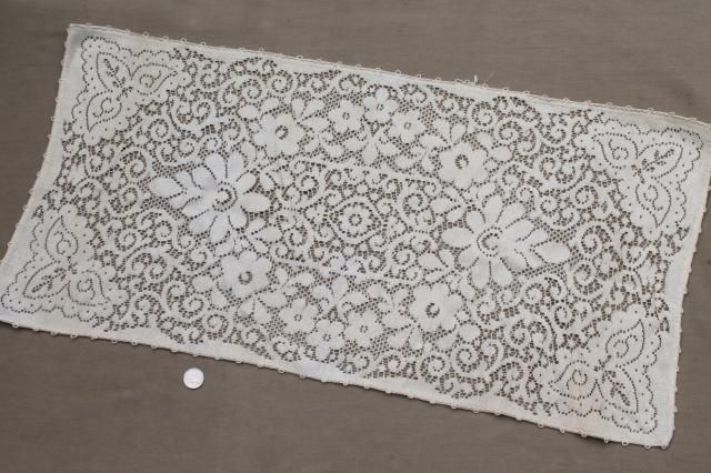 lot vintage crochet lace fancywork, chair toppers, doilies, table runners