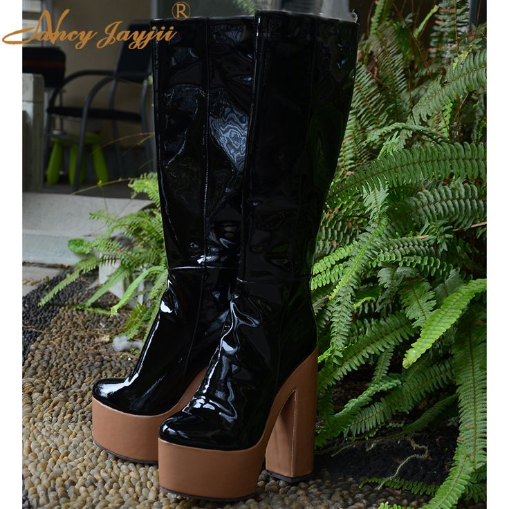 Cheap boots steel, Buy Quality shoe leopard directly from China shoe laces for boots Suppliers: BC Women Black Full Grain Leather Round toe Knee-High Fashion  Boots,Plus size 5-14