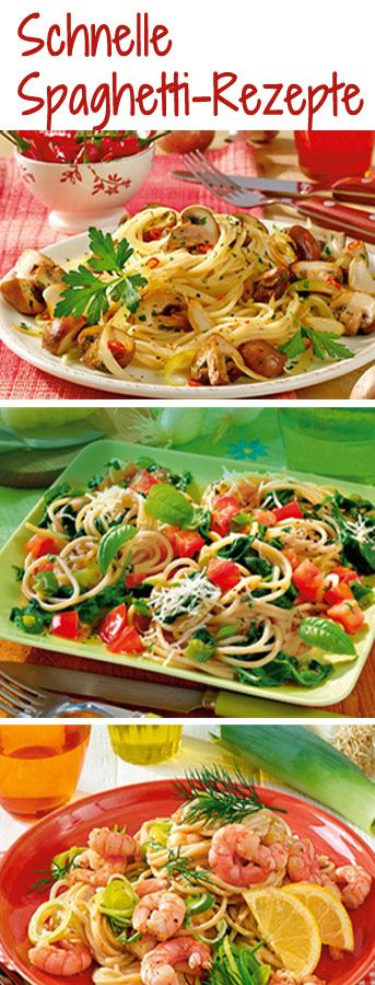Spaghetti-Rezepte, die in maximal 25 Minuten fix & fertig sind: http://www.bildderfrau.de/rezepte/schnelle-spaghetti-rezepte-d60411.html #spaghetti #pasta