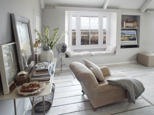 window seats and white living room