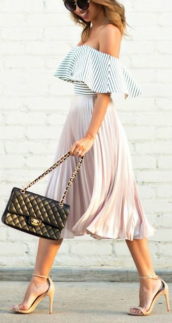 Striped off the shoulder + pleated midi.