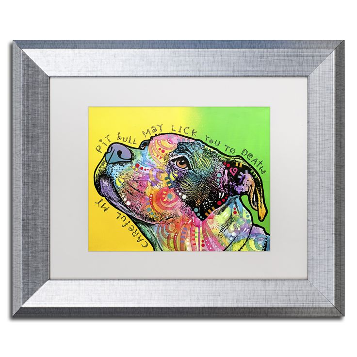 This ready to hang, matted framed art piece features a vibrant portrait of a pit bull with Careful my pit bull may lick you to death written around it. Art and animals. These two passions define Dean,