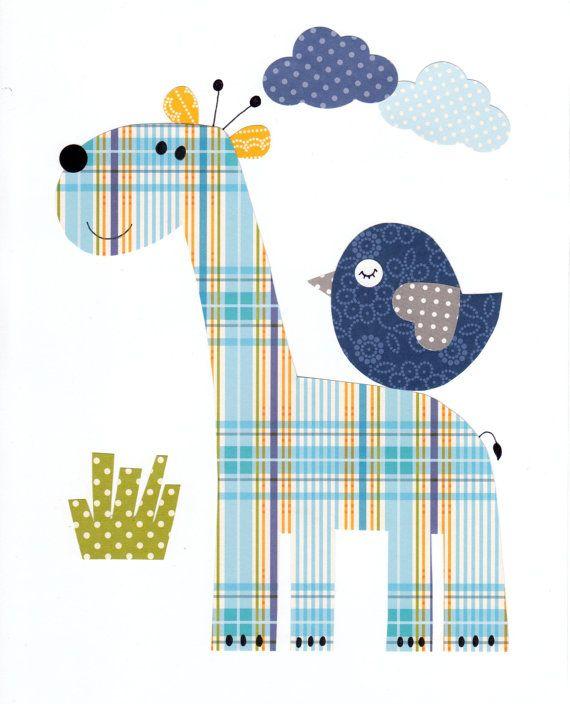 Colorido Animal vivero arte imprimir Baby por 3000yardsofthread