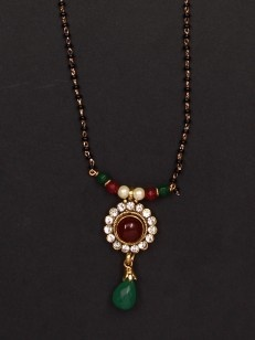 Red and Green Black Beaded Mangalsutra