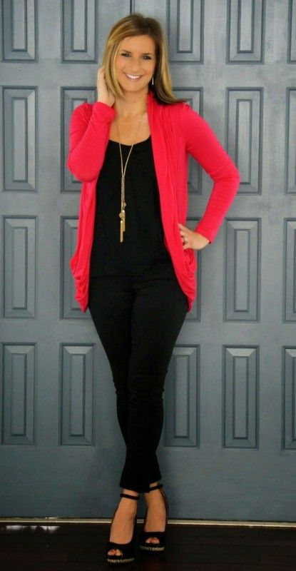 Stitch Fix Stylist - I love to wear black shirts so having this pop of color cardigan would be great!