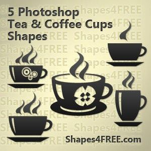 Tea and coffee cups shapes photoshop