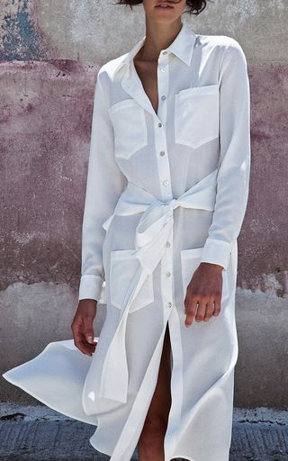Rani White Long Wrap Shirt Dress by CHRISTINA ECONOMOU for Preorder on Moda…
