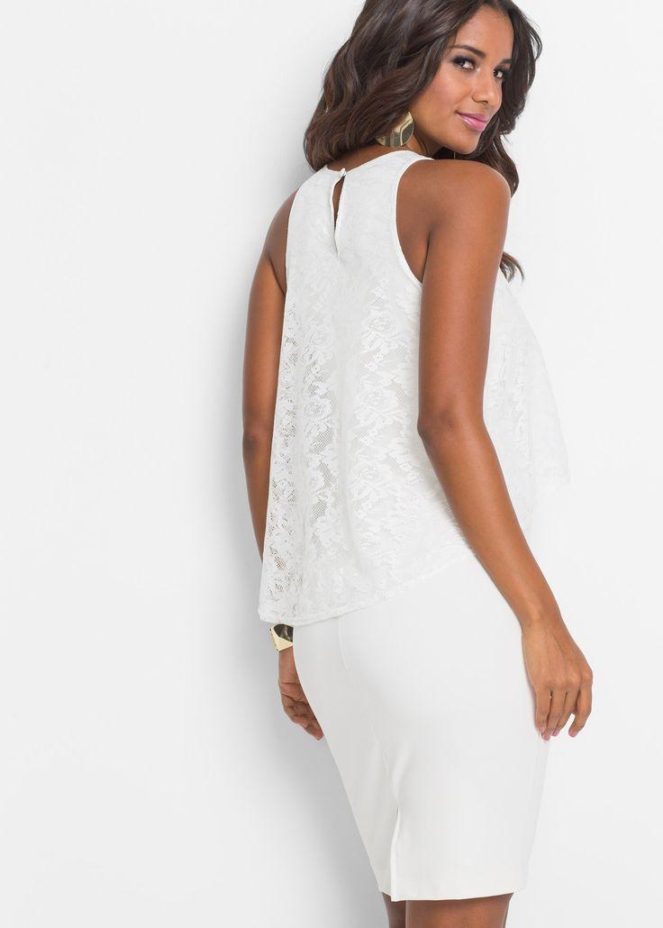 Šaty s krajkou, BODYFLIRT boutique, přírodní bílá