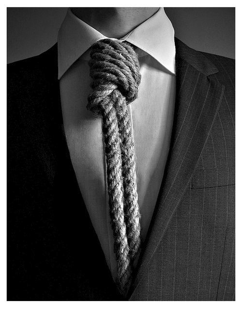 A tie is just a fancy noose! Tension - secret battle with yourself - unexpected people