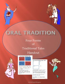 Fables, Myths, Legends, and Folktales - Oral Tradition - Four Forms of Traditional Tales Handout. Help your students understand myths, legends, fables and folktales by clearly defining them in a colorful graphic organizer, and then giving examples of each.