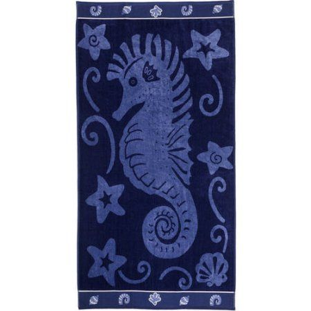 Superior Cotton Jacquard Oversized Beach Towel, Blue