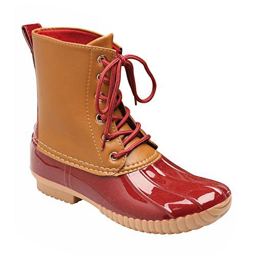 Avanti Womens Duck Boot Style Rain Boots 6 Red * Visit the image link more details.