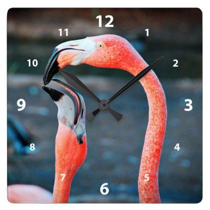 Cute chic orange pink flamingo best friends photo square wall clock - chic design idea diy elegant beautiful stylish modern exclusive trendy