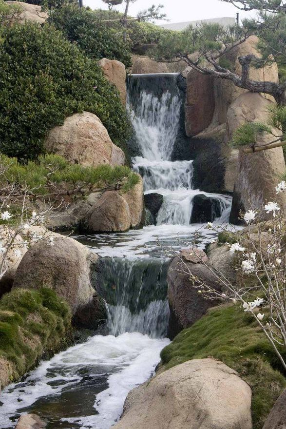 Cascading waterfalls? Now this is a backyard to fall in love with...