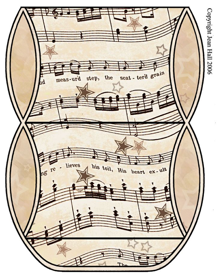 Vintage Sheet Music Free Clipart Biege Tan - Printable Gift Boxes