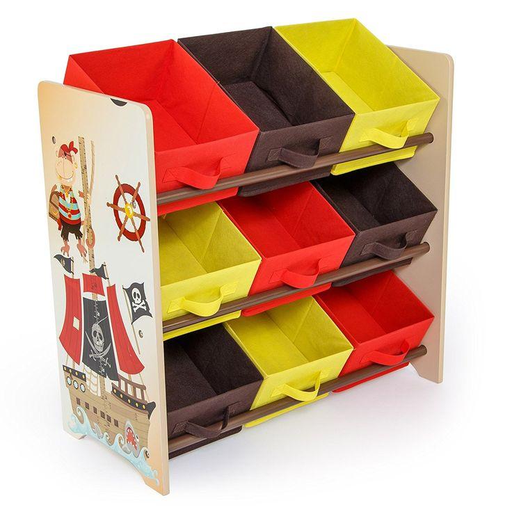⚓ Piratenzimmer: Kinderregal Pirat aus Holz in Braun Beige mit 9 farbigen Boxen Ablagen aus Stoff für das Kinderzimmer Spielzeugregal Bücherregal Aufbewahrung - Kindermöbel