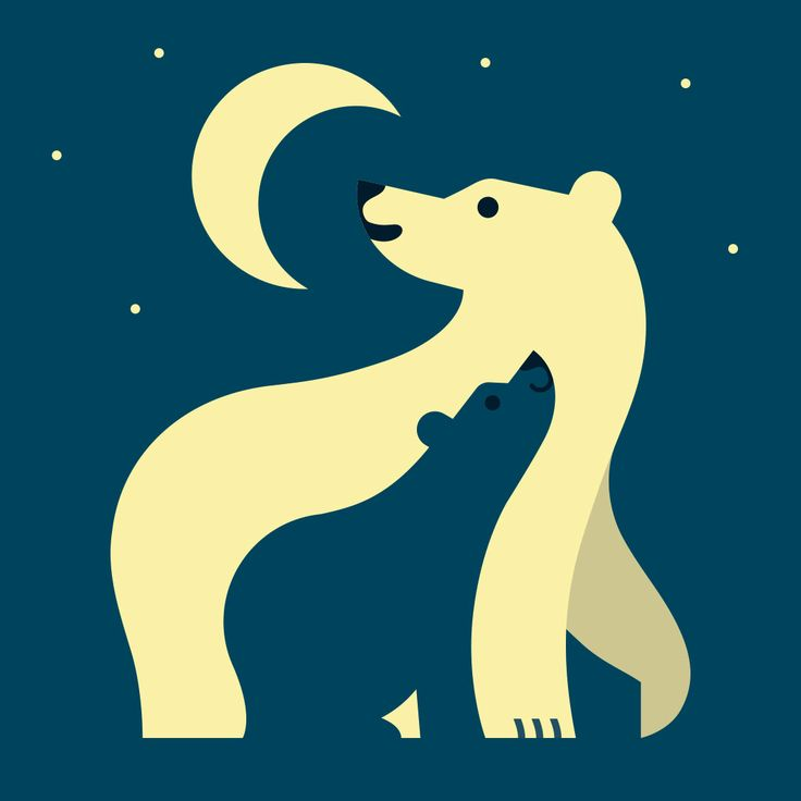 Polar Bear Family Illustration for Lanturn Lampshades. By PartTwo Design