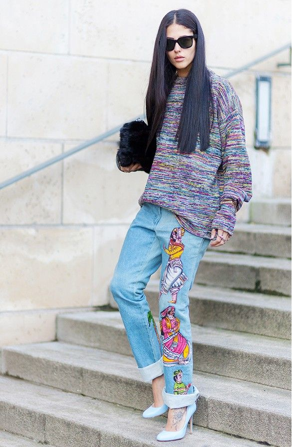 Gilda Ambrosio in embroidered boyfriend jeans and an oversized sweater