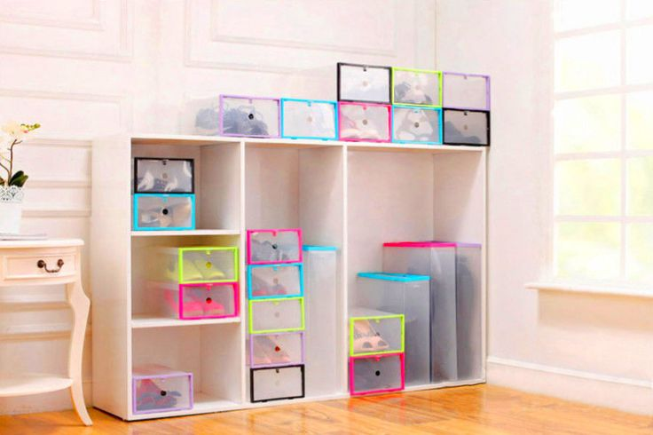 · When used, can stack up neatly for easy storage; When unused,box can be unfolded to save space. Our Clear Box is Opened from the front side, making it easy to get the shoes/ other things from it without move other boxes which are stacked. | eBay!