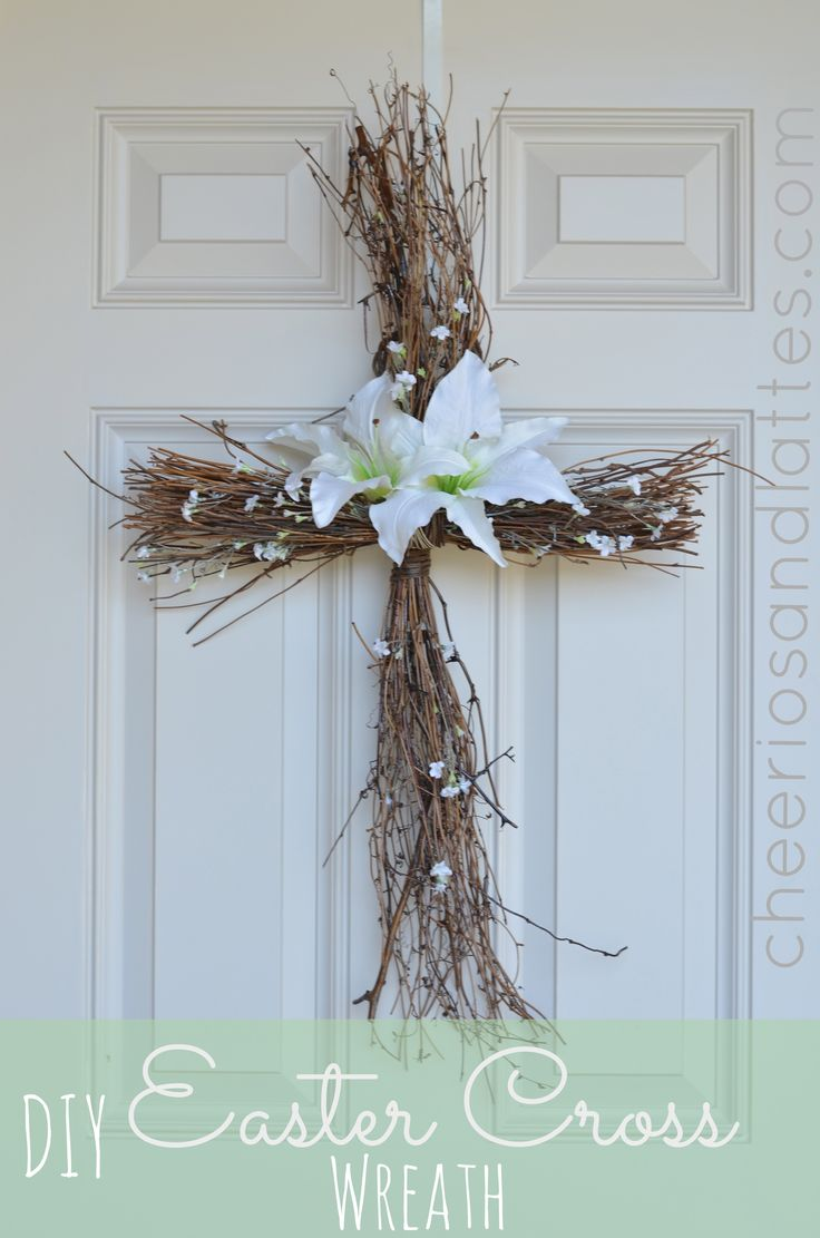 EASTER CROSS Wreath(?) for Front Door FROM: DIY Easter Cross Wreath