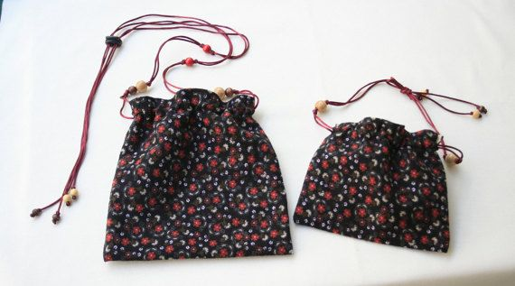 Dual-sided joyful twin bags. 21 x 215 cm and 18 x 16 by KirkeCraft