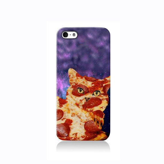 Trippy Pizza Cat is available for Galaxy S3, iPhone 4/4S, iPhone 5/5s, iPhone 5c and new iPhone 6. The picture shows the design on an iPhone 5/5s