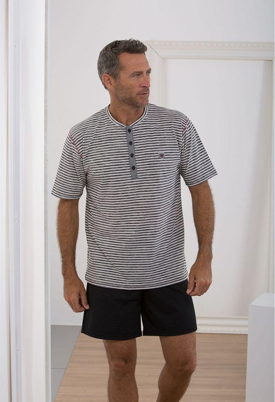 Pijama massana verano hombre listado cuello tapeta