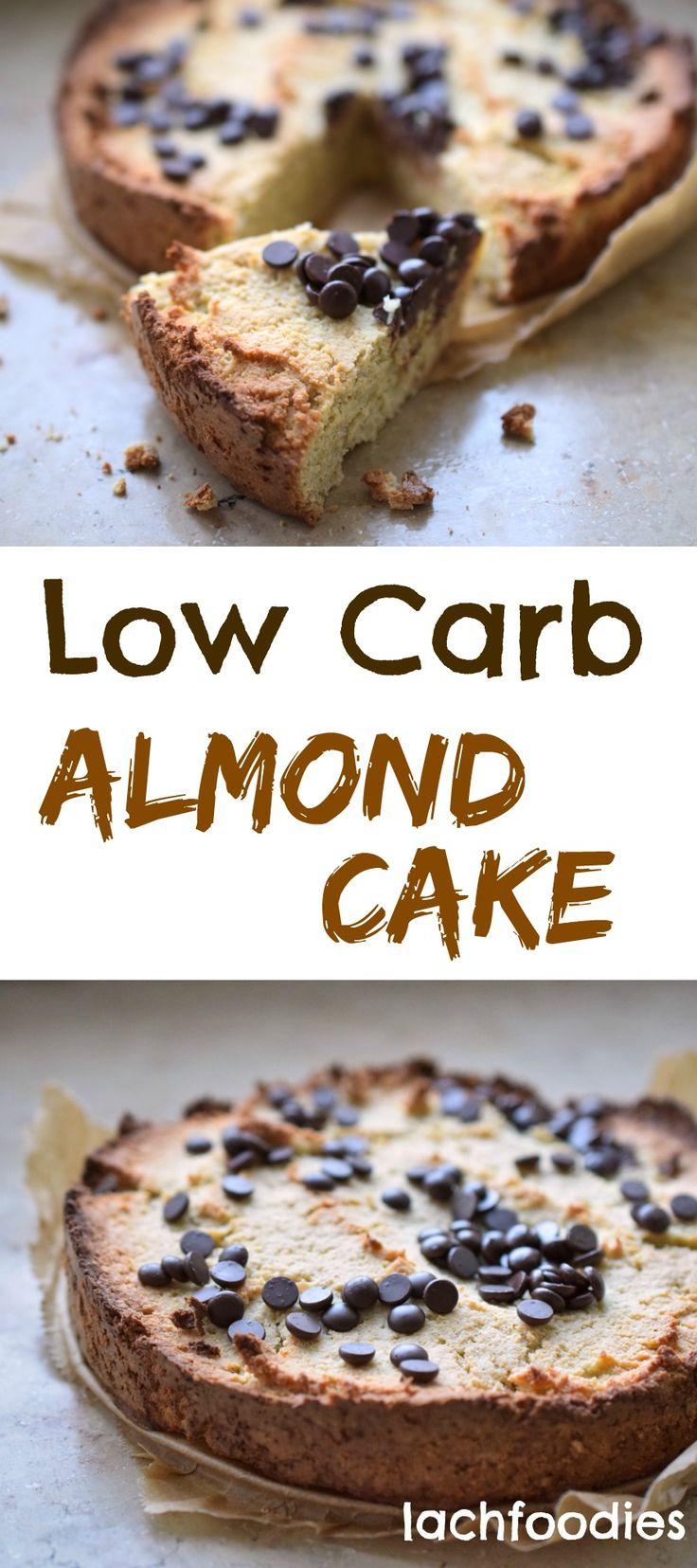 Low Carb Almond Cake Ein leckerer Kuchen für ein gemütliches Low Carb Dessert (zucker- und glutenfrei). Kohlenhydratarmes Gebäck mit Schokolade und Marzipan.