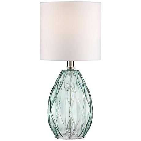 Rita Blue Glass Table Lamp, On/off Switch. Maximum 60 Watt Or Equivalent  Bulb (not Included). Shade Is Across The Top, Across The Bottom, And 7 High.