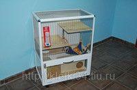Клетка витрина для шиншилл, хорьков, дегу, лемуров с полками и домиком (В940*Ш750*Г450мм)., фото 1