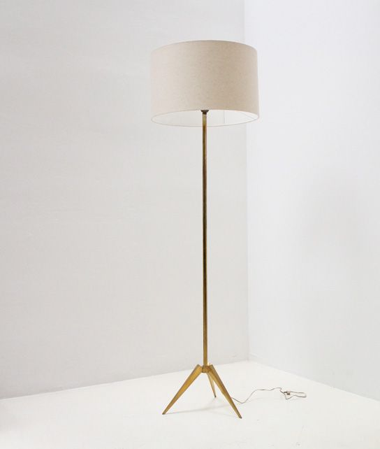 Nice floor lamp from france massive brass tripod base with brass stem and a new fabric shade
