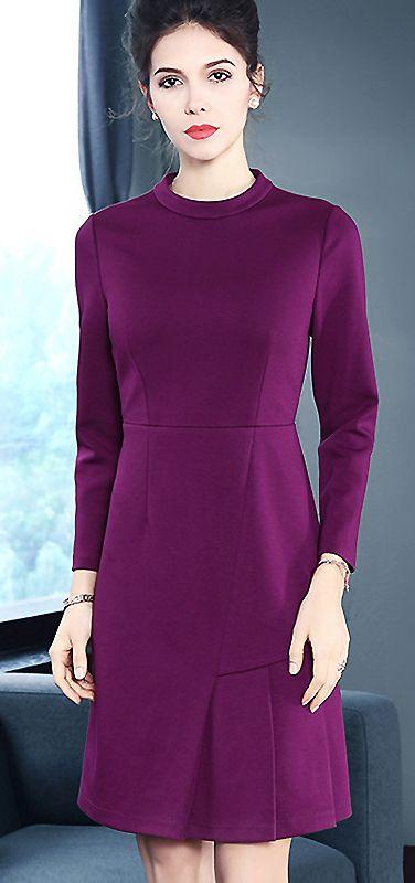 00a98fc187 Elegant O-Neck Long Sleeve Purple A-Line Dress