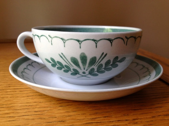 Arabia of Finland Handpainted Green Thistle Teacup by curliecue, $15.00