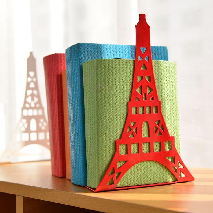 2 teile/para Korean Großen Mode Bücherregal Metall Buchstütze Eiffelturm Schreibtisch Halter Stehen Für Bücher Organizer, Weiß Schwarz Rot blau
