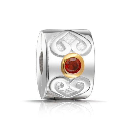 Bling Jewelry 925 Silver Heart Clasp Red CZ January Birthstone Bead Stopper Bling Jewelry. $16.99. Unthreaded European story bead. .925 sterling silver. Pandora, Troll, Oriana, Pugster, Chamilia compatible. 3mm core. January birthstone color bead. Save 53%!