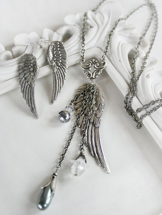 GUARDIAN ANGEL vintage inspired angel wing necklace and earring set with angel message card, gift boxed