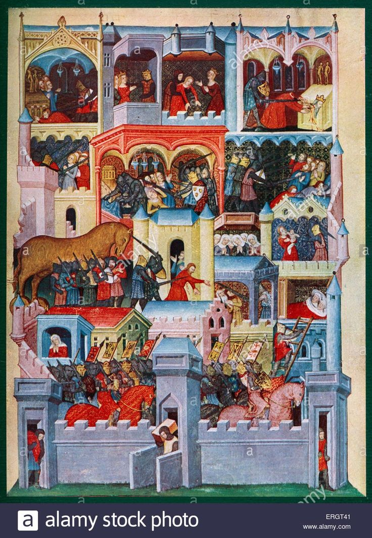The Greek capture of Troy - Medieval illumination including scenes featuring the Trojan Horse and the death of Priam. Manuscript miniature of the 14th century,