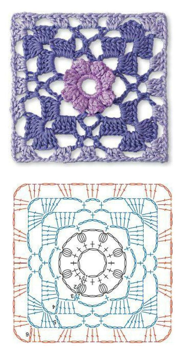 Granny square with chart. .. This is a good example of how choice & placement of colors changes the entire look of a pattern ! Helps to highlight...