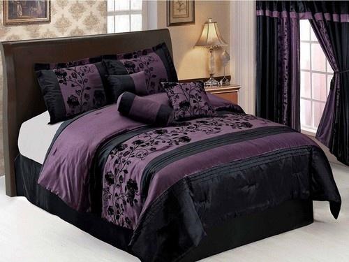 7pcs Purple Black Floral Flocking Faux Silk Comforter Set