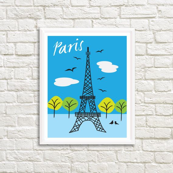 Paris Eiffel Tower 24 x 31 Art High by LittleLotusFlowers on Etsy