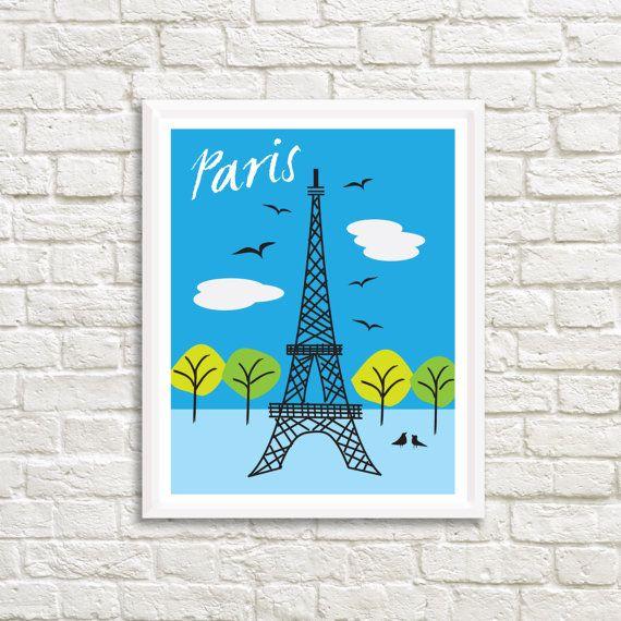Paris Eiffel Tower 24 x 31 Art High by LittleLotusFlowers on Etsy