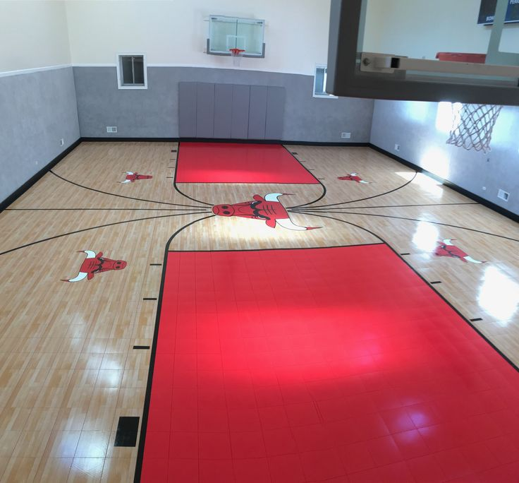 Chicago bulls indoor home gym home basketball court