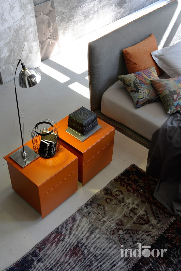 Orange bedside tables