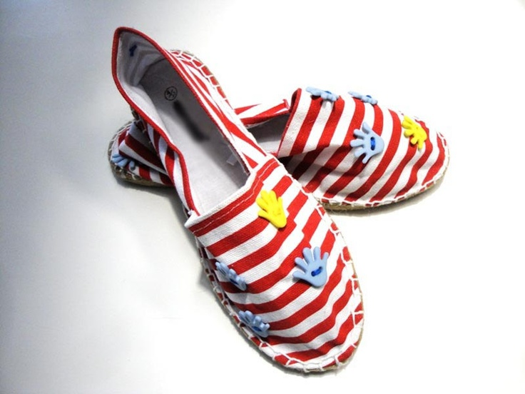 Flat canvas striped shoes decorated with handshaped by beh1ndbymk