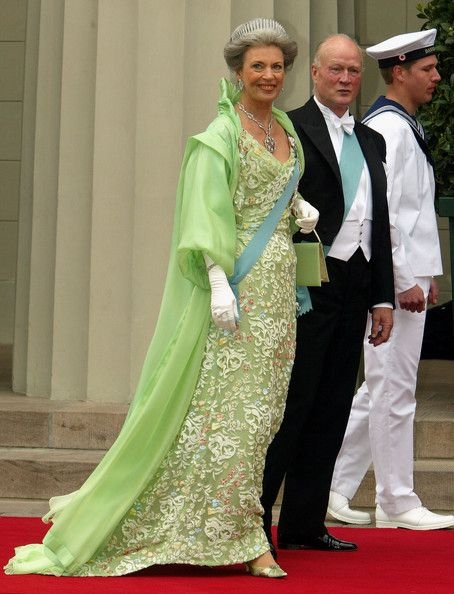 Princess Benedikte, aunt to Crown Prince Frederik, and her husband Prince Richard arrive to attend the wedding between Danish Crown Prince F...