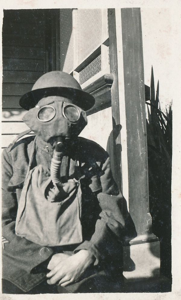 WWI gas mask and army uniform.